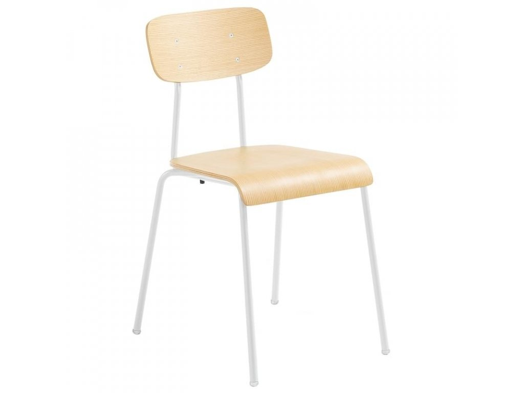 Bílá kovová židle LaForma Klee s dřevěným sedákem