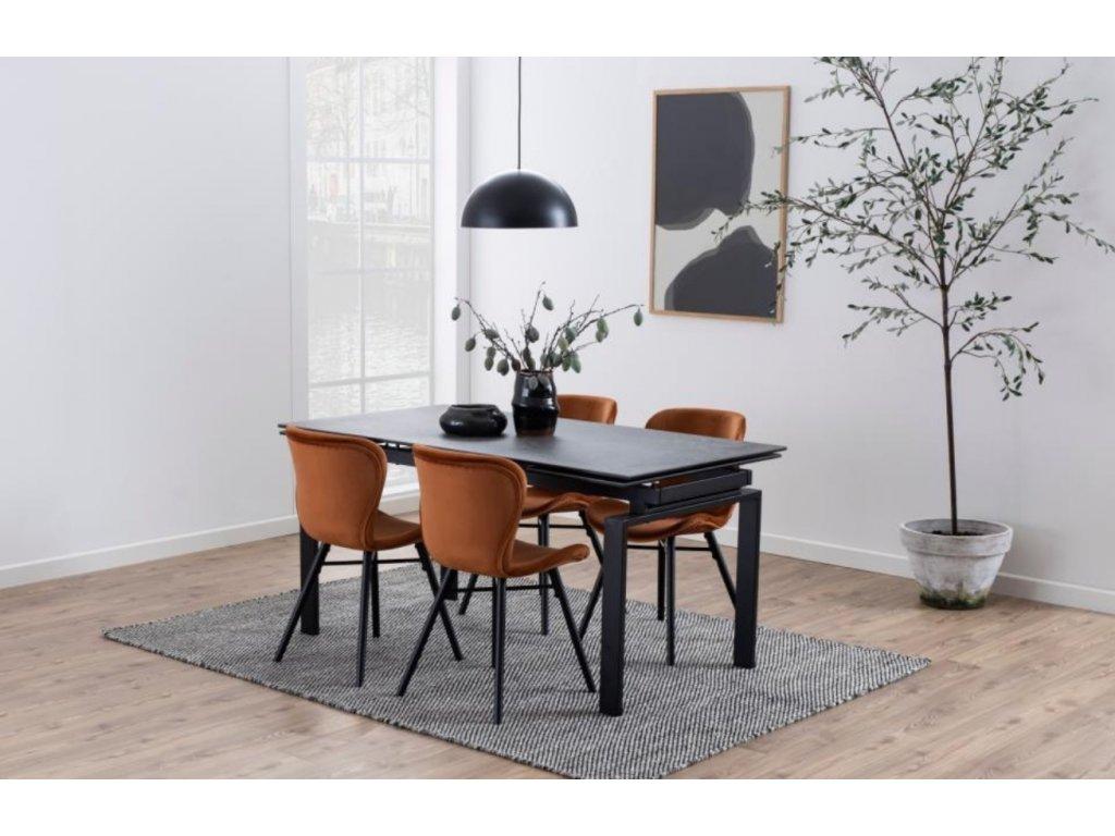 Hnědá sametová jídelní židle Matylda