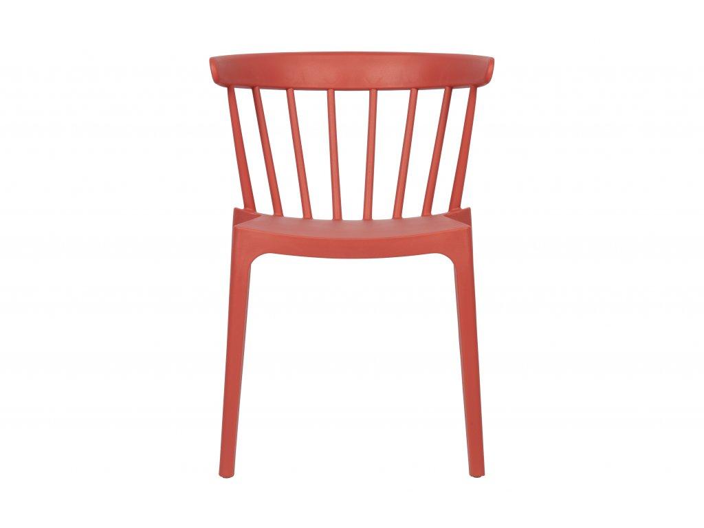 Melounově červená plastová jídelní židle Marbel