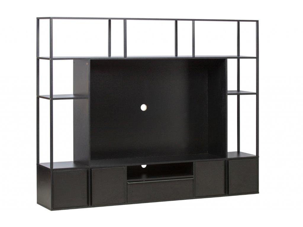Černá dřevěná TV stěna Parra