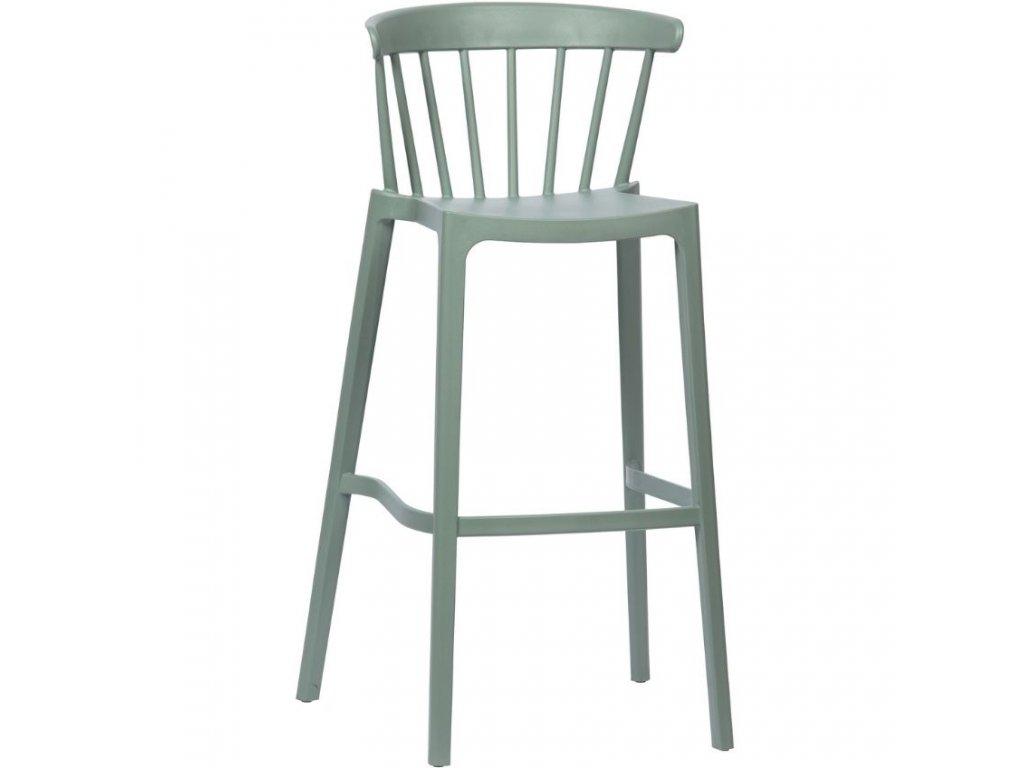 Zelená plastová barová židle Marbel