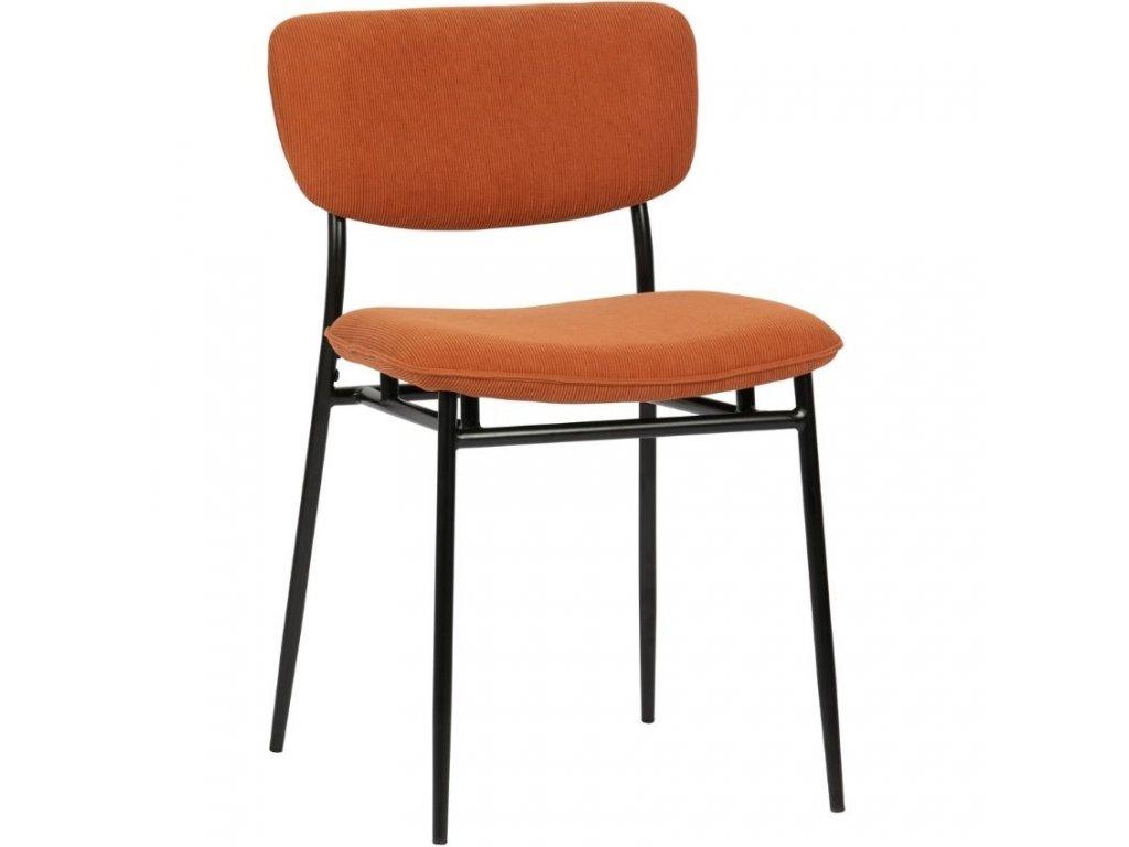 Oranžová manšestrová jídelní židle Camilla
