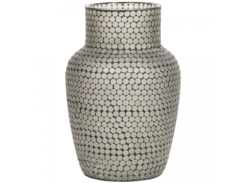 Černo bílá skleněná váza Ice s puntíky