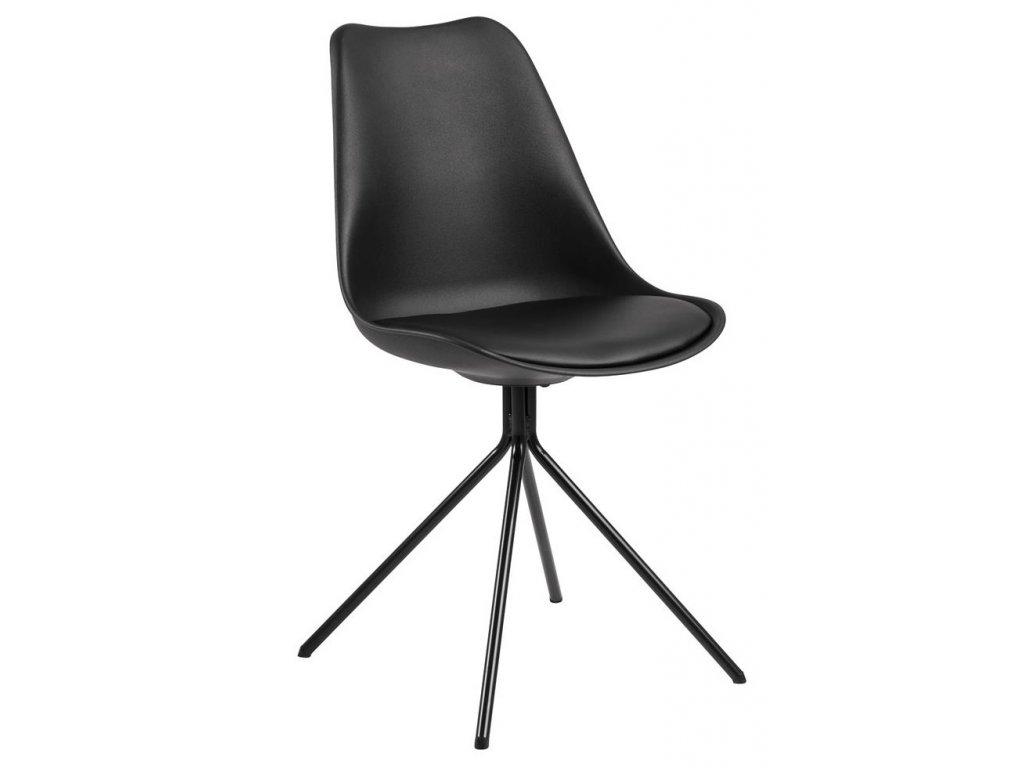 Černá plastová jídelní židle Damian