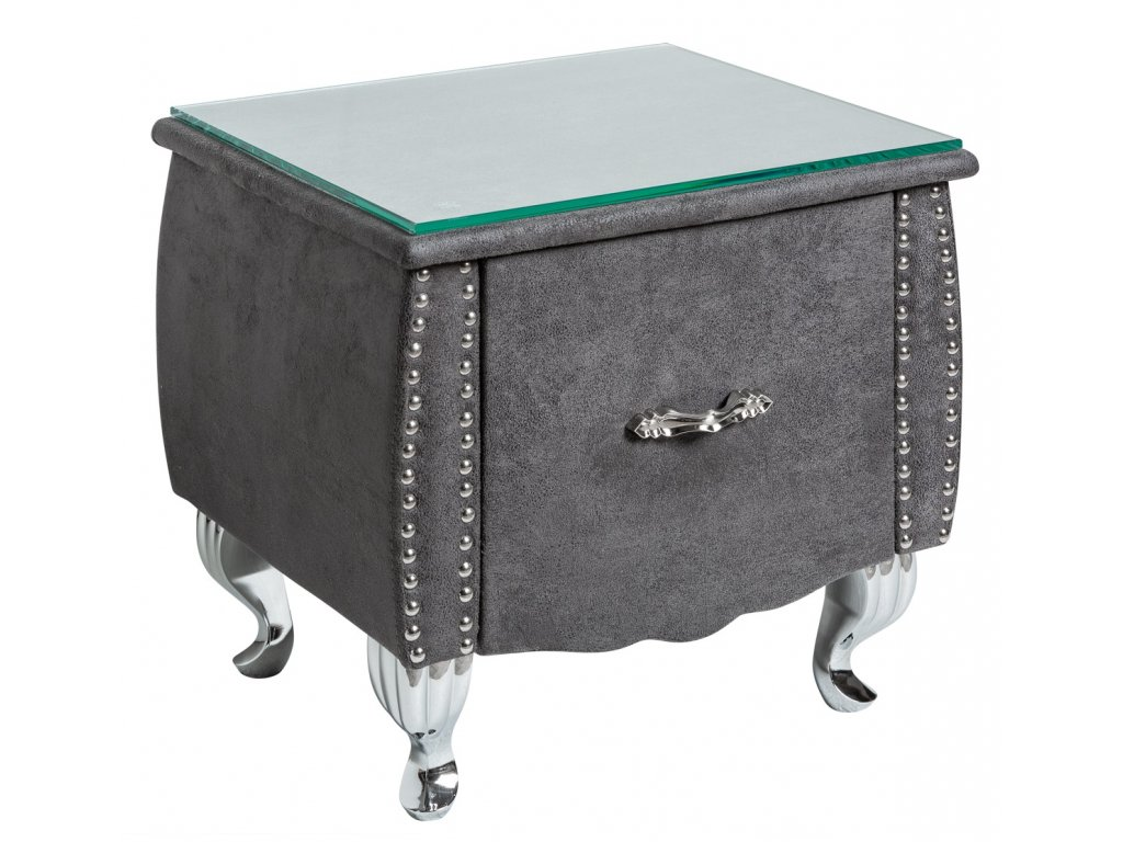 Šedý kožený noční stolek Calderon s chromovanou podnoží a skleněnou deskou