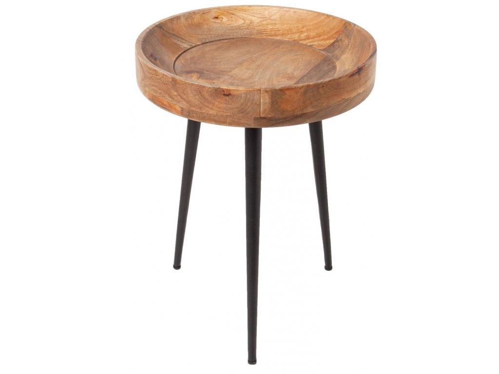 Masivní dřevěný odkládací stolek Marigo 35 cm s kovovou podnoží