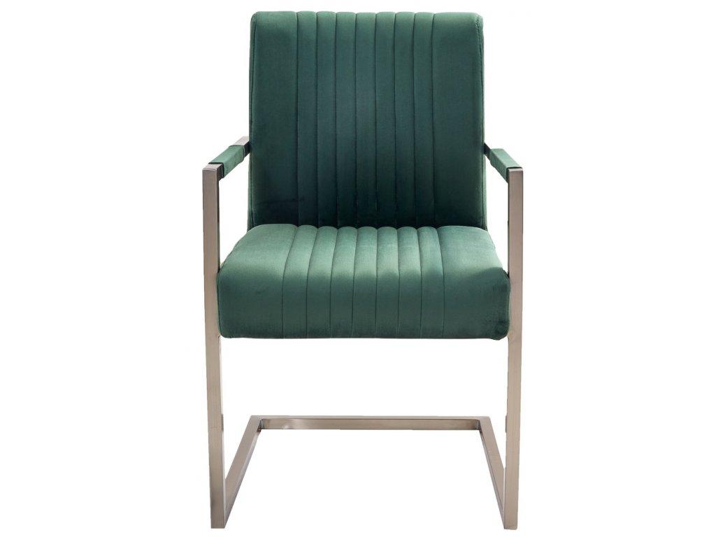 Zelená sametová jídelní židle Harmon s područkami s nerezovou podnoží