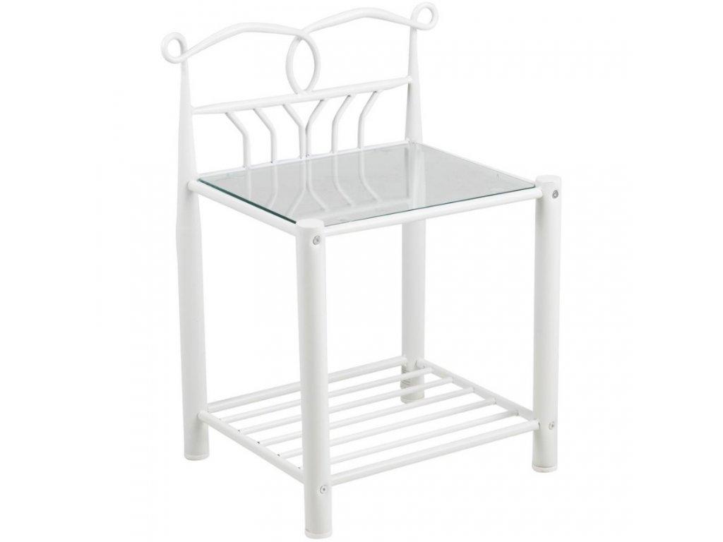 Bílý kovový noční stolek Liben