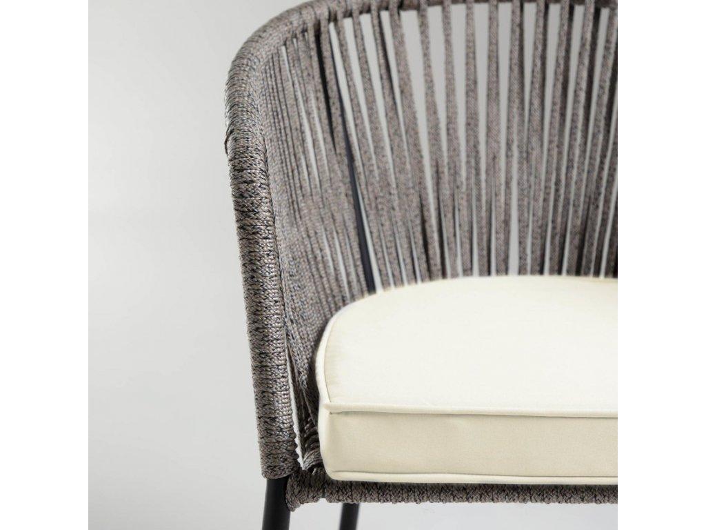 Šedá pletená zahradní židle LaForma Yanet s kovovou podnoží