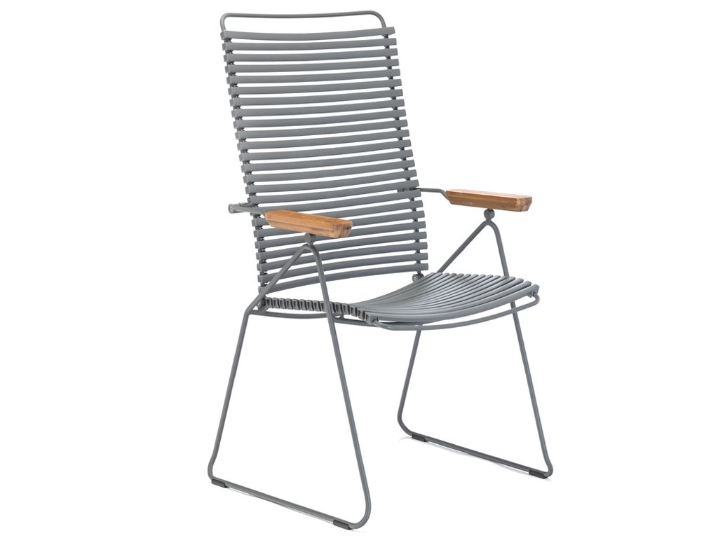 Šedá plastová polohovací zahradní židle HOUE Click s područkami a kovovou podnoží
