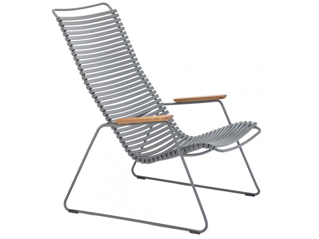 Šedé plastové zahradní lounge křeslo HOUE Click s kovovou podnoží a bambusovými područkami