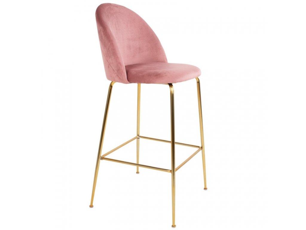 Růžová sametová barová židle Nordic Living Anneke se zlatou kovovou podnoží