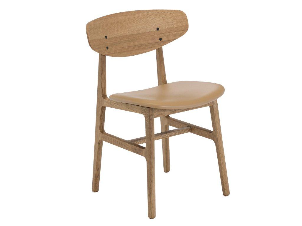 Béžová kožená jídelní židle HOUE Siko