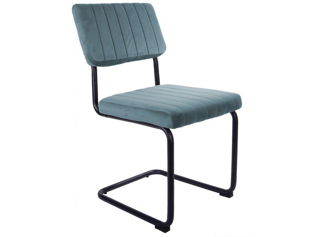 Modrá sametová jídelní židle Cornelia