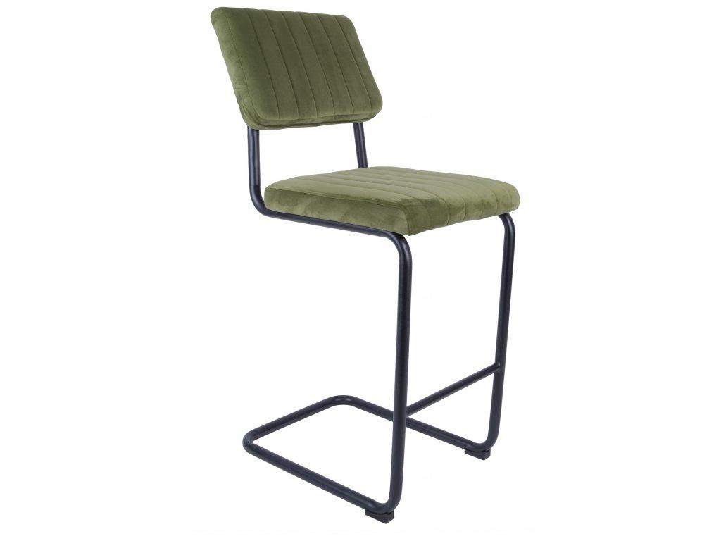 Zelená sametová barová židle Cornelia 66 cm
