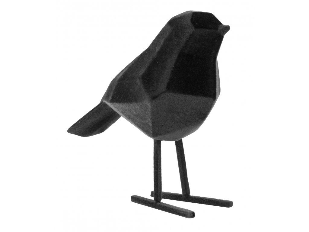 Černá sametová dekorace Birdie S