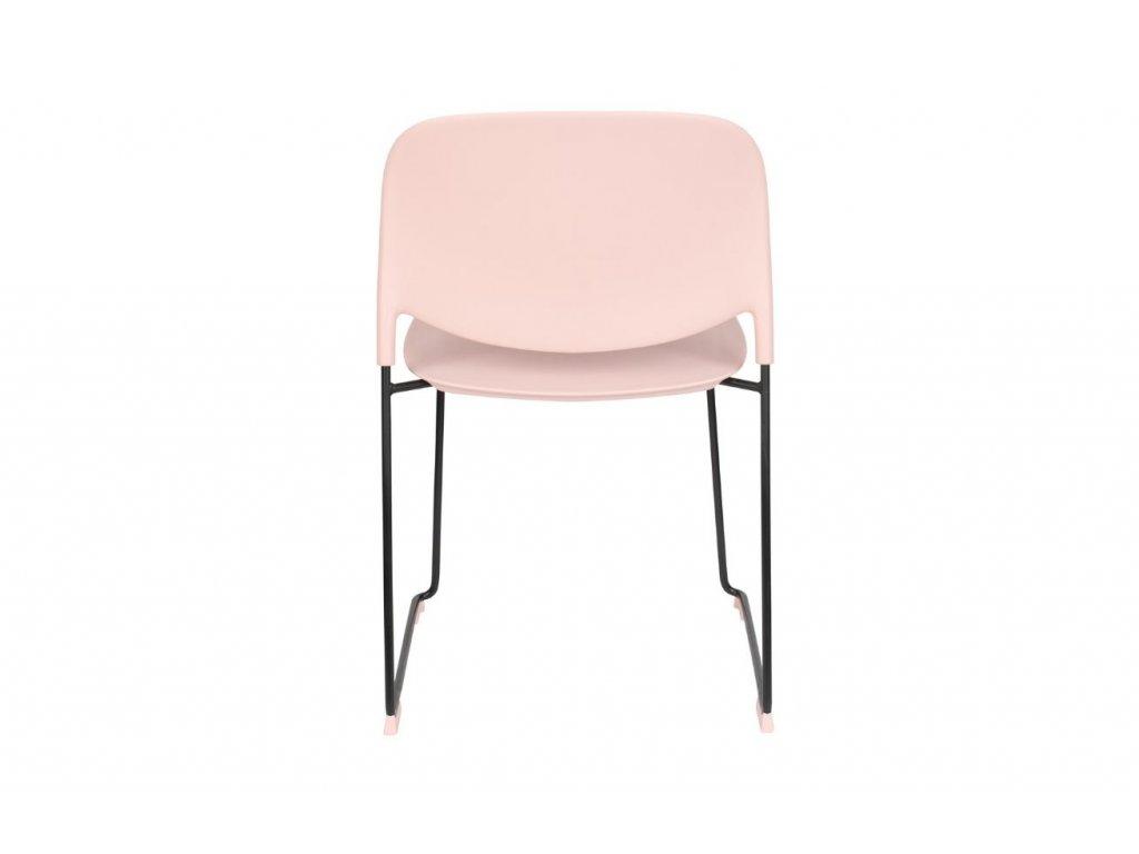 Světle růžová plastová jídelní židle WLL Stacks