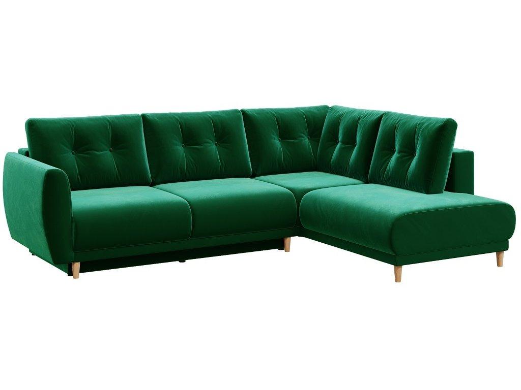 Tmavě zelená sametová rohová rozkládací pohovka DEVICHY Este, pravá 262 cm