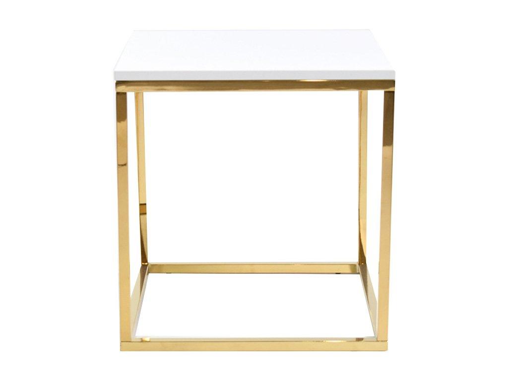 Bílý konferenční stolek FormWood Villa 50 x 50 cm s lesklou zlatou podnoží