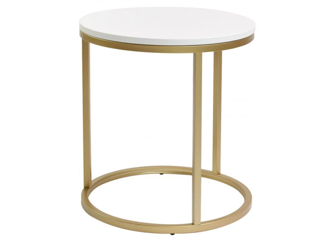 Bílý konferenční stolek FormWood Villa 50 cm s matnou zlatou podnoží