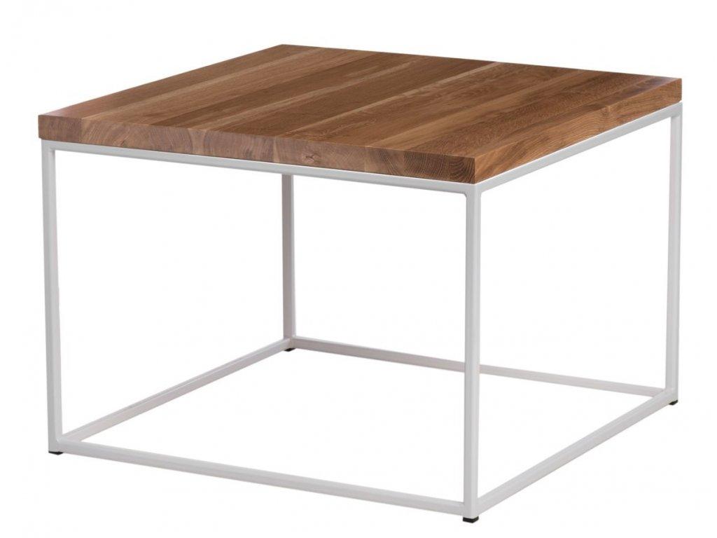 Konferenční stolek Crate 100x100, 15 mm, bílý kov/dub