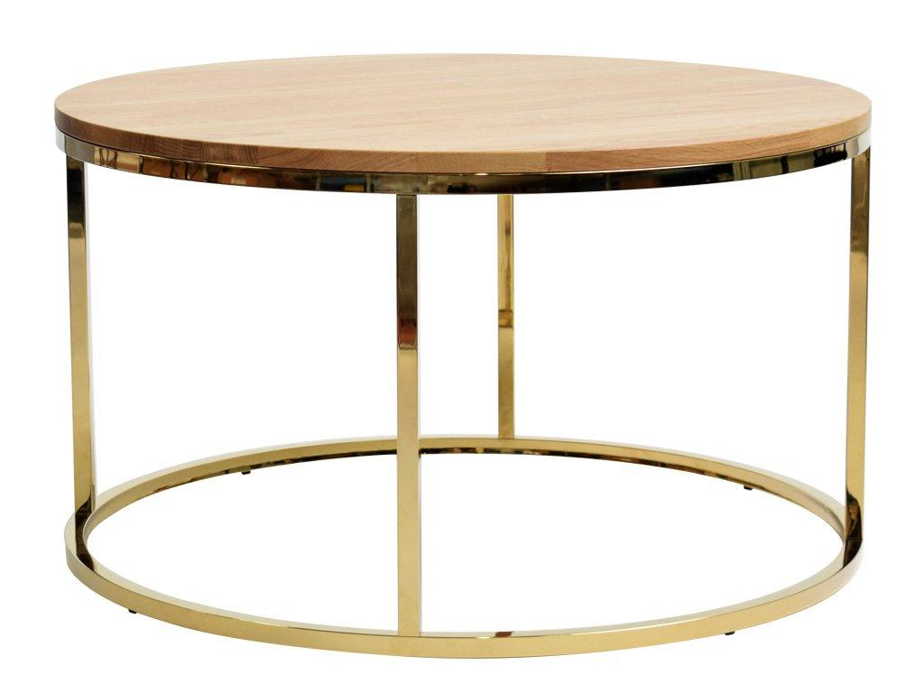 Dubový kulatý konferenční stolek FormWood Villa 85 cm s lesklou zlatou podnoží