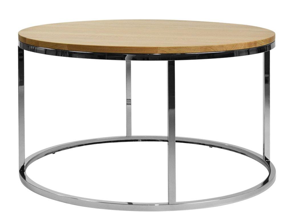 Dubový kulatý konferenční stolek FormWood Villa 85 cm s chromovou podnoží