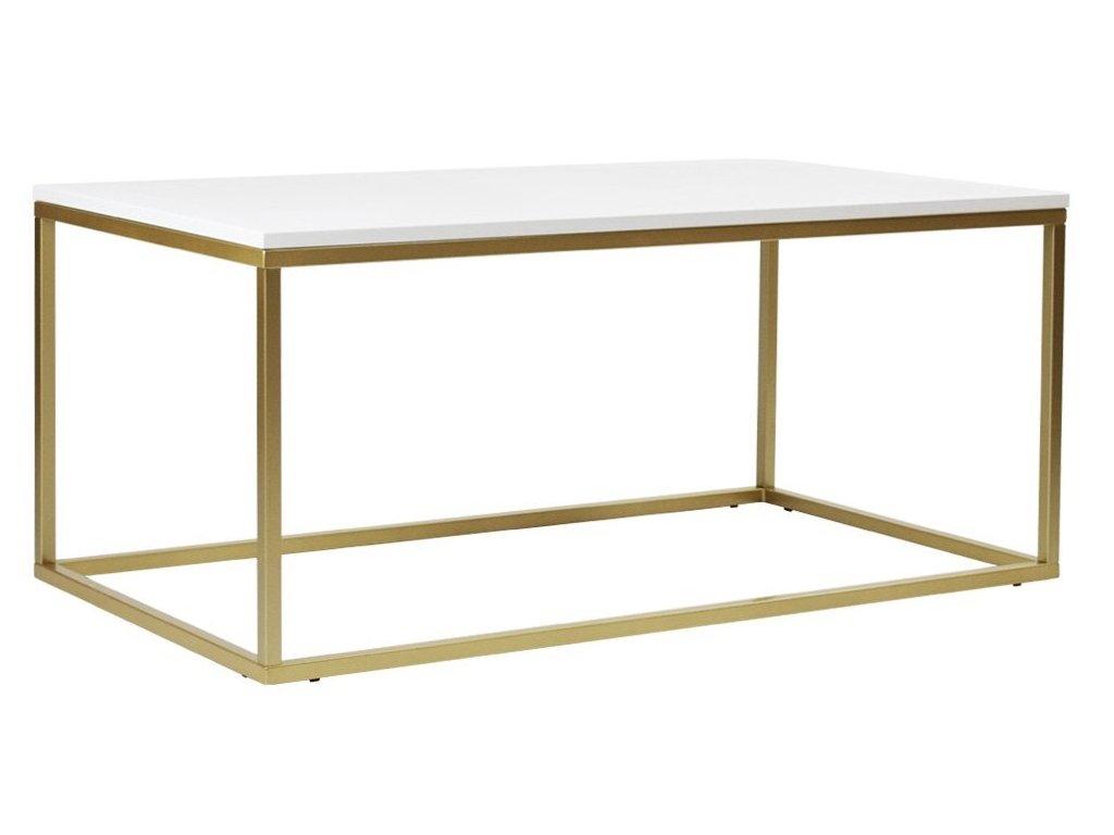 Bílý konferenční stolek FormWood Villa 110 x 60 cm se zlatou podnoží