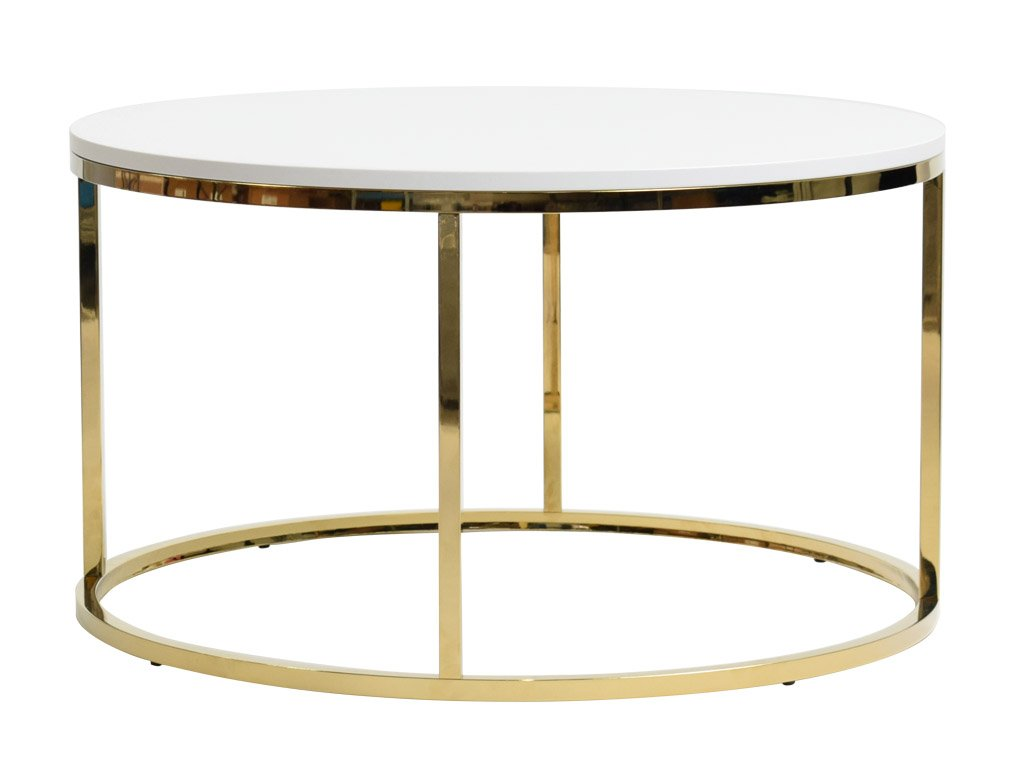 Bílý kulatý konferenční stolek FormWood Villa 85 cm s lesklou zlatou podnoží