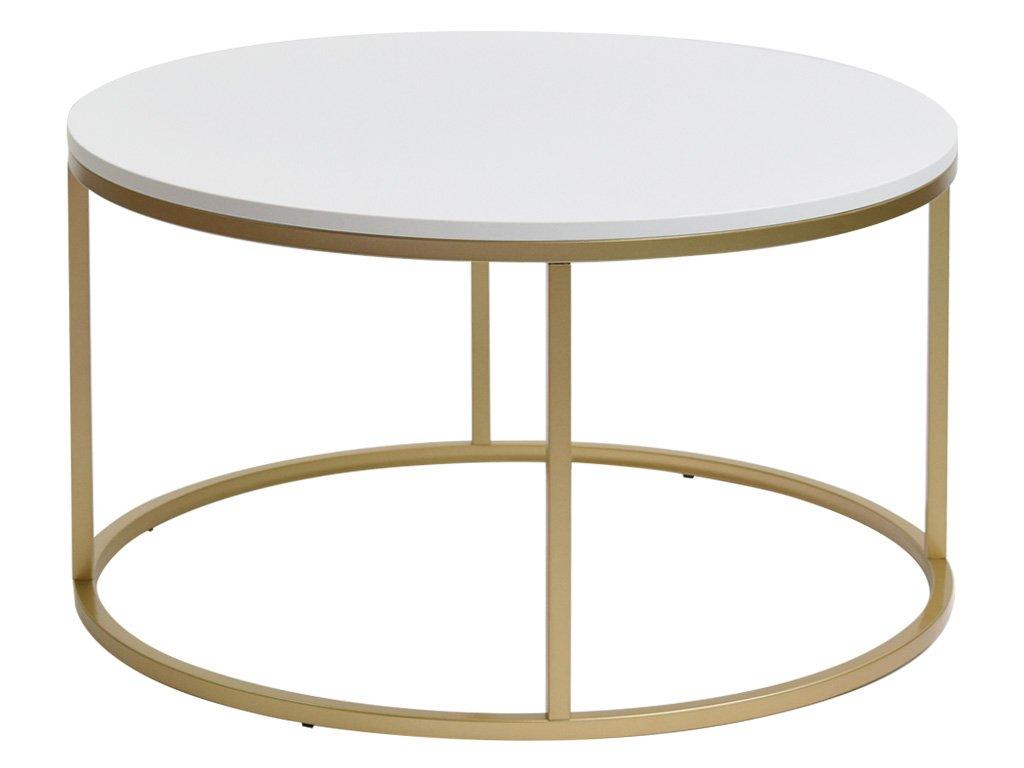 Bílý kulatý konferenční stolek FormWood Villa 85 cm s matnou zlatou podnoží