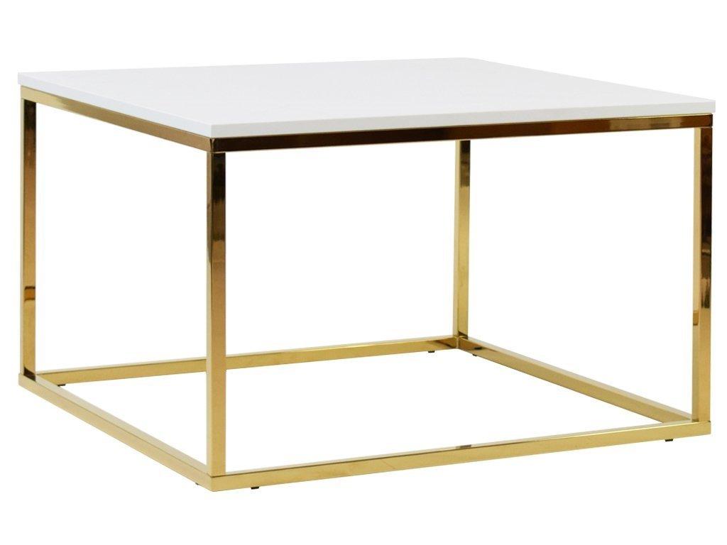Bílý konferenční stolek FormWood Villa 75 x 75 cm s lesklou zlatou podnoží