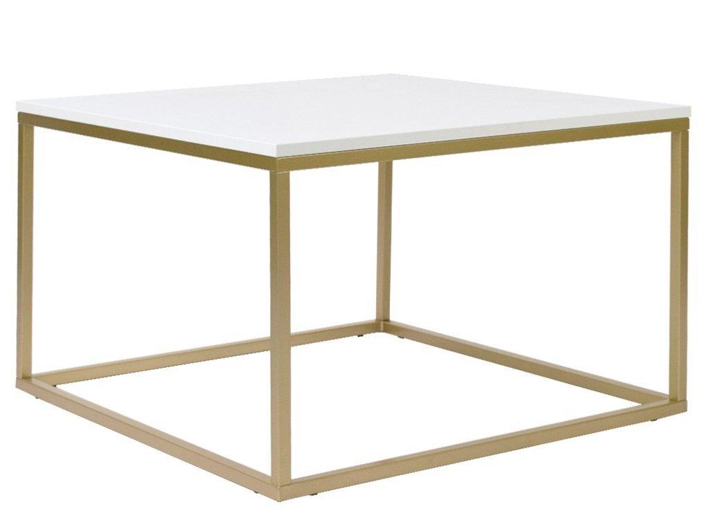 Bílý konferenční stolek FormWood Villa 75 x 75 cm s matnou zlatou podnoží