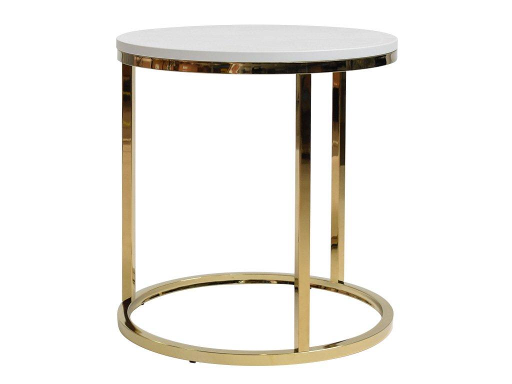 Bílý odkládací stolek FormWood Villa 50 cm s lesklou zlatou podnoží