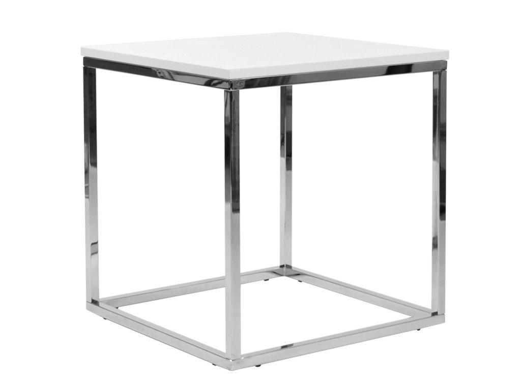 Bílý konferenční stolek FormWood Villa 50 x 50 cm s chromovou podnoží