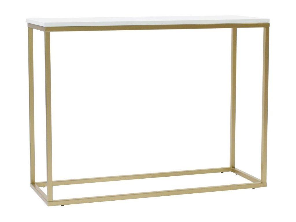 Bílý toaletní stolek FormWood Villa 100 x 35 cm s matnou zlatou podnoží