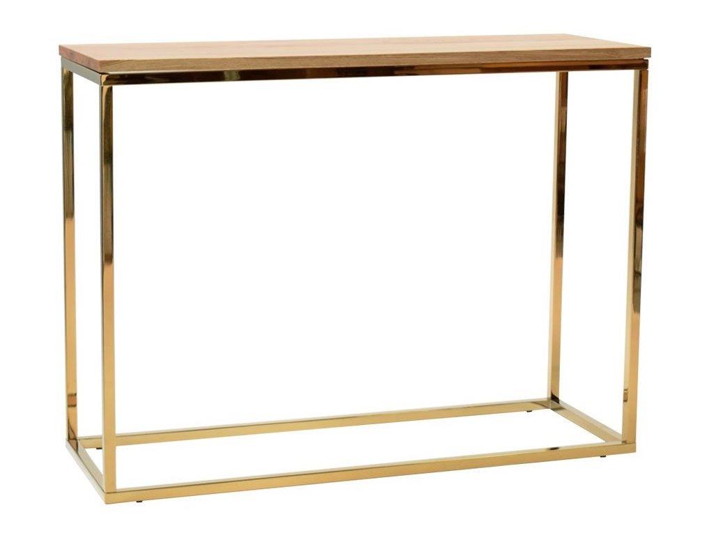 Dubový toaletní stolek FormWood Villa 100 x 35 cm s lesklou zlatou podnoží