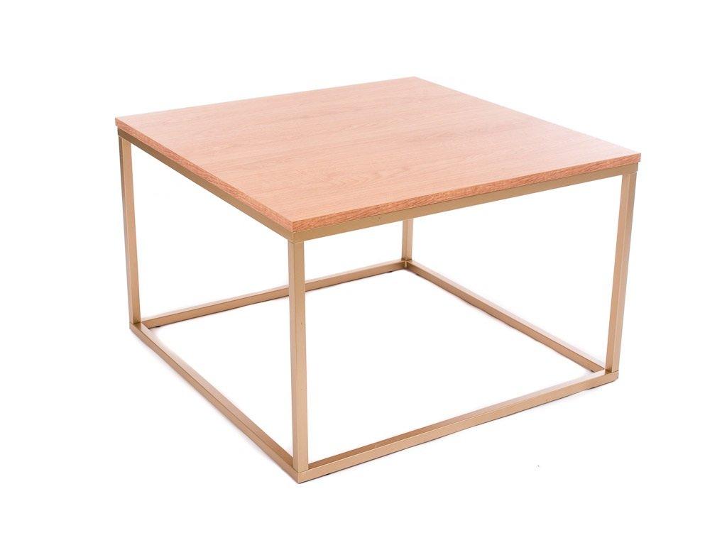 Dubový konferenční stolek FormWood Villa 75 x 75 cm s matnou zlatou podnoží