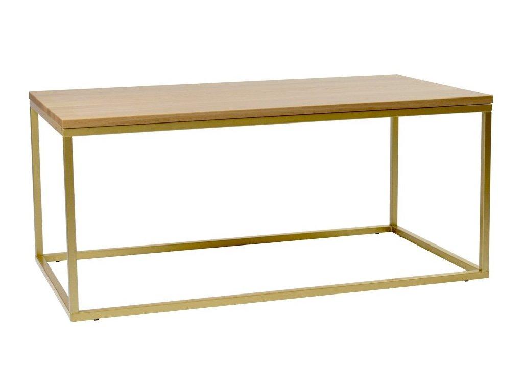 Dubový konferenční stolek FormWood Villa 110 x 60 cm se zlatou podnoží