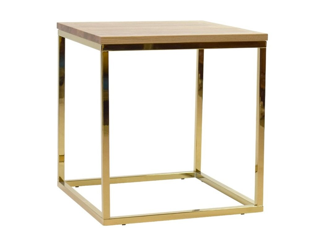 Dubový konferenční stolek FormWood Villa 50 x 50 cm s lesklou zlatou podnoží