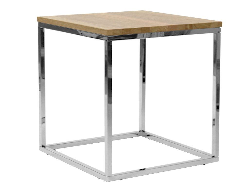 Dubový konferenční stolek FormWood Villa 50 x 50 cm s chromovou podnoží