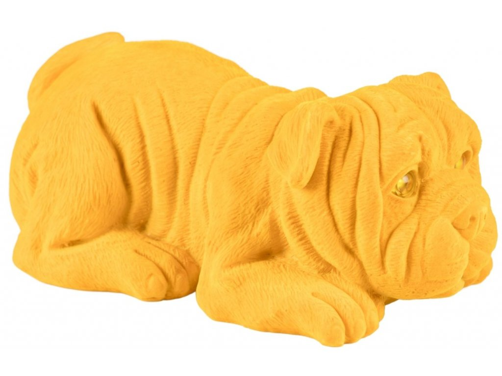 Žlutá dekorativní svítící soška Bold Monkey Devilish Bulldog