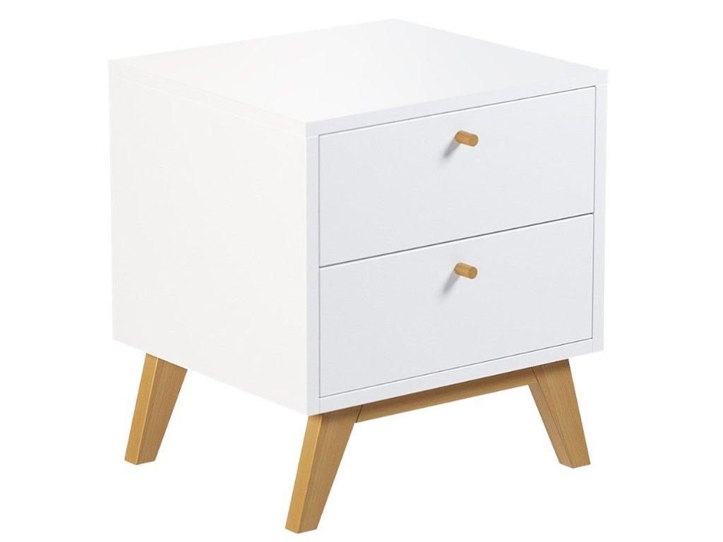 Bílý noční stolek FormWood Thia s dubovou podnoží 45 x 40 cm
