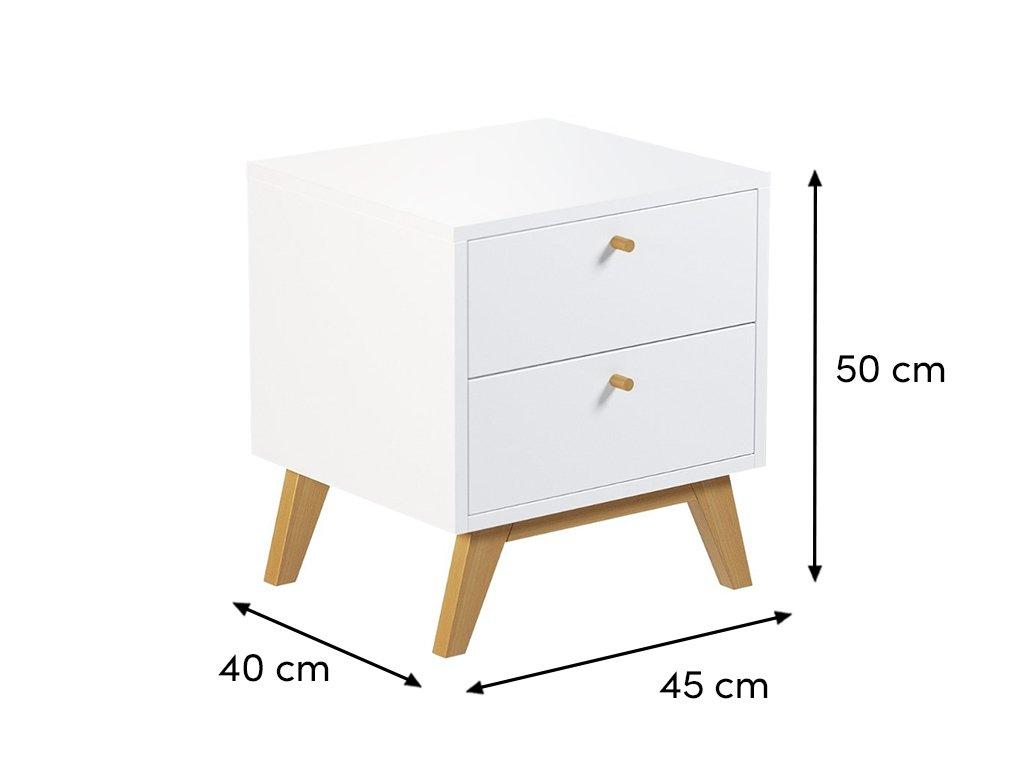 Bílý noční stolek FormWood Thia