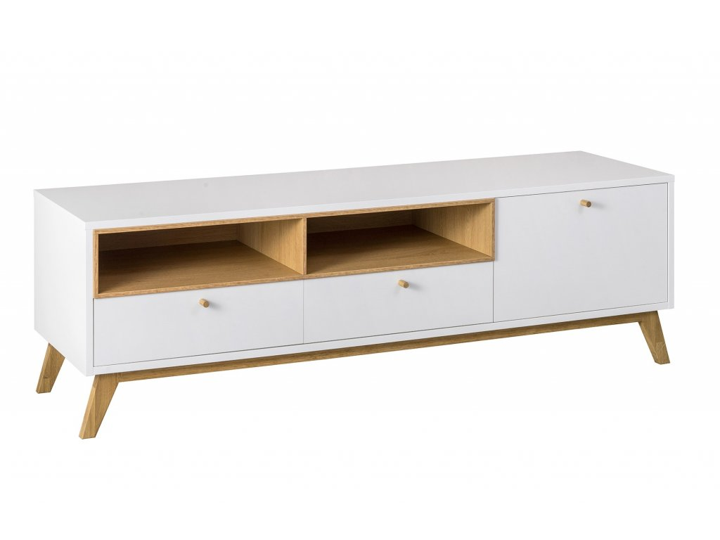 Bílý TV stolek FormWood Thia 160 x 45 cm