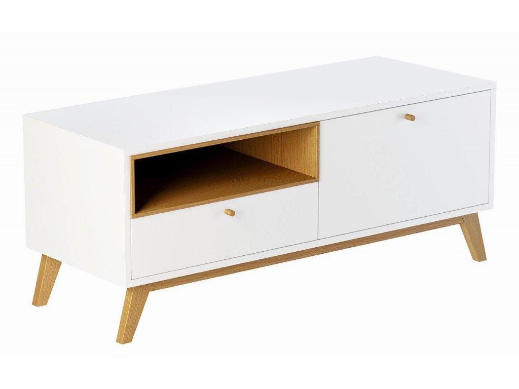 Bílý TV stolek FormWood Thia s dubovou podnoží  120 x 45 cm