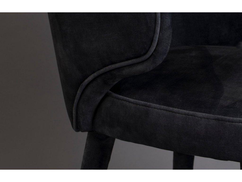 Černá sametová jídelní židle DUTCHBONE Lunar