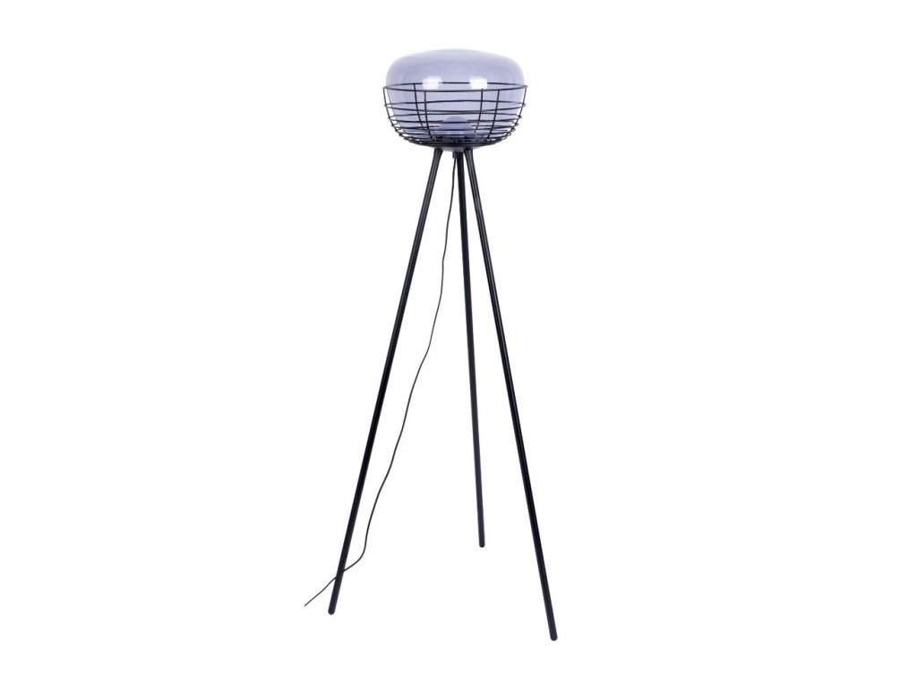 Kouřově modrá skleněná stojací lampa ZUIVER SMOKEY 145 cm