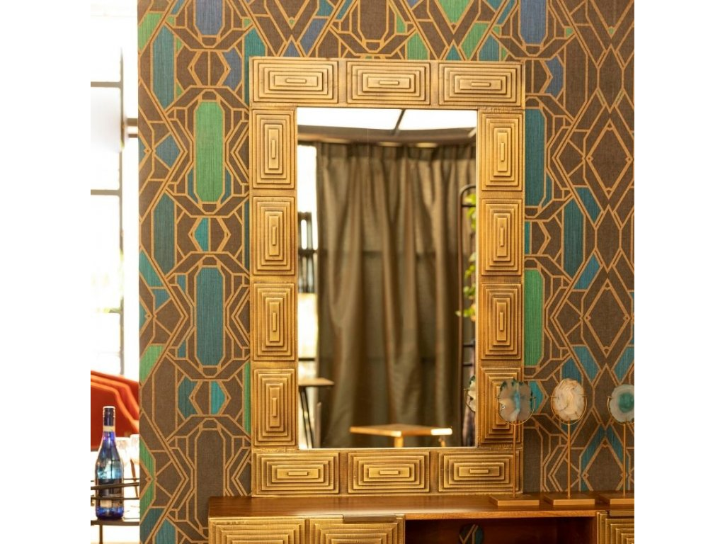Zlaté kovové zrcadlo DUTCHBONE VOLAN 115 x 75 cm