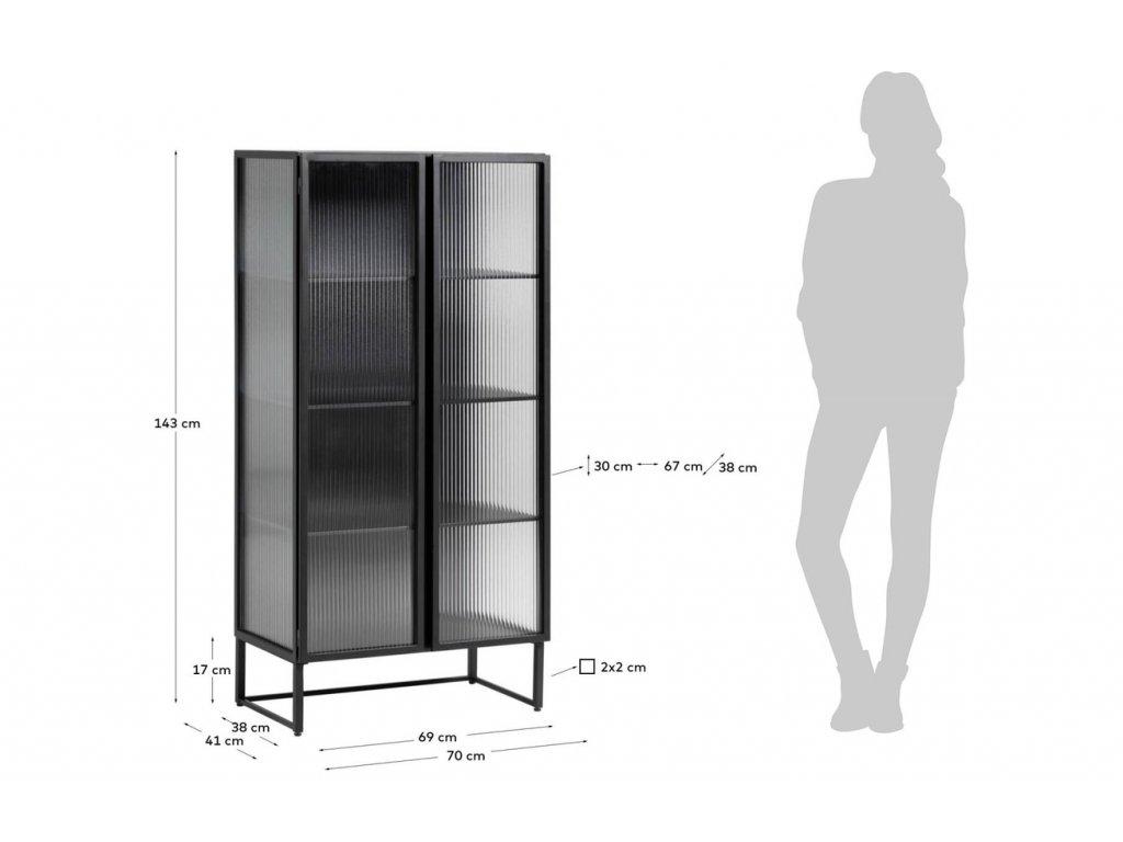 Černá kovová vitrína LaForma Trixie 70 x 41 cm