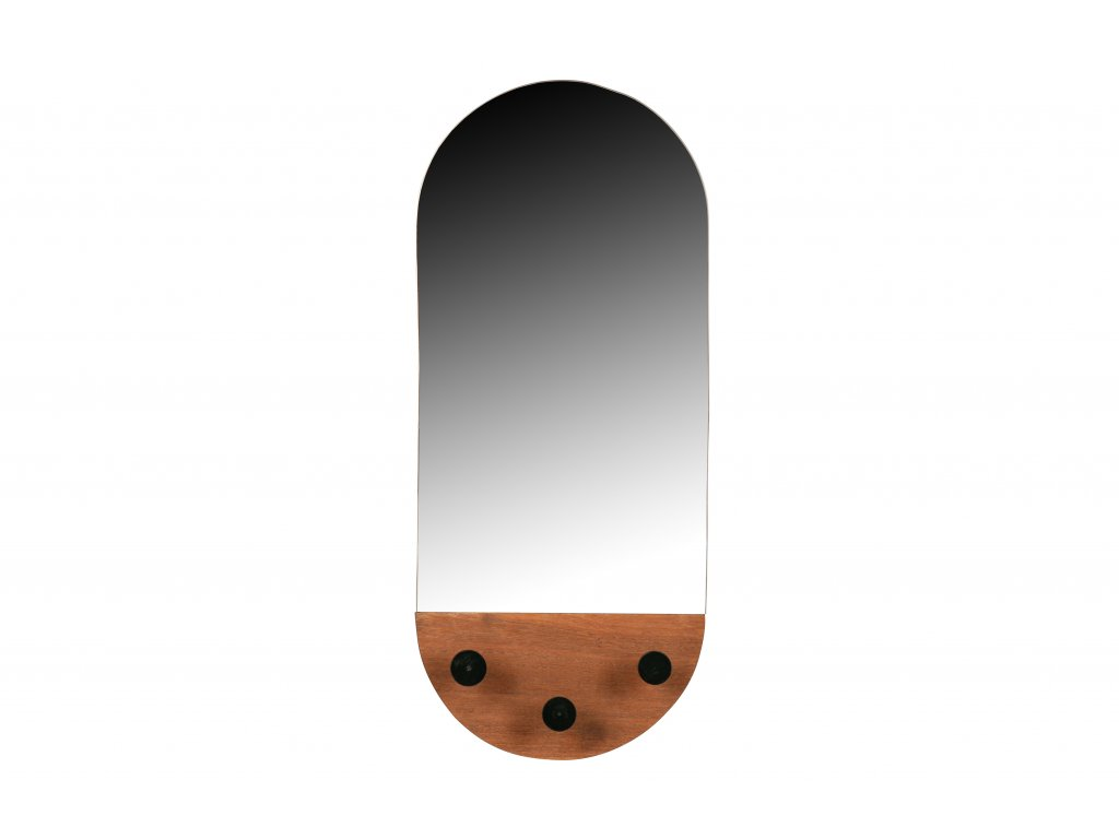 Hnědé nástěnné zrcadlo s háčky Tiernan 58 x 25 cm